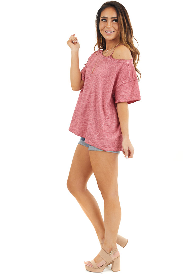 Berry Mineral Washed Short Sleeve Top with One Cold Shoulder side full body
