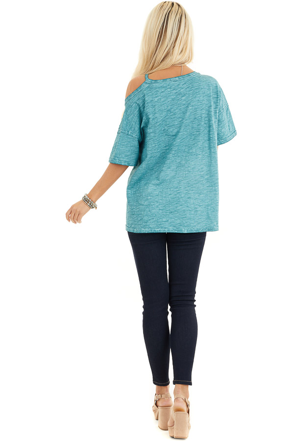 Teal Mineral Washed Short Sleeve Top with One Cold Shoulder back full body