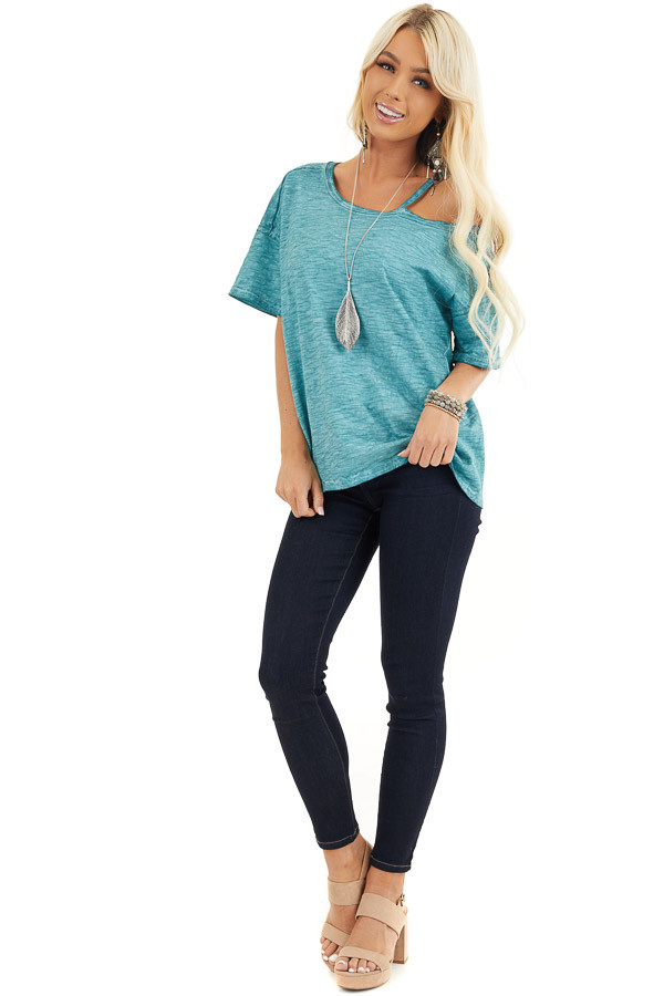 Teal Mineral Washed Short Sleeve Top with One Cold Shoulder front full body