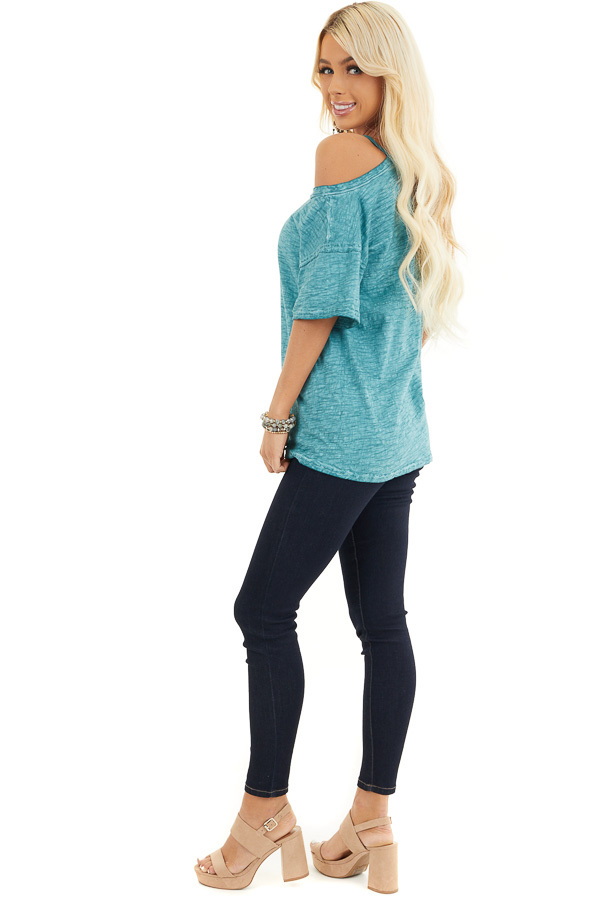 Teal Mineral Washed Short Sleeve Top with One Cold Shoulder side full body