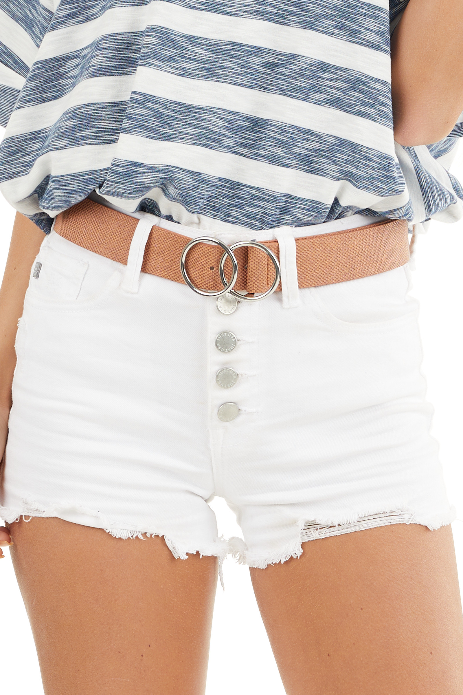Toffee Faux Leather Belt with Silver Double Ring Buckle