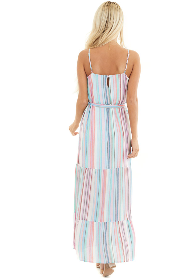 Blue Multicolor Vertical Striped Sleeveless Maxi Dress back full body