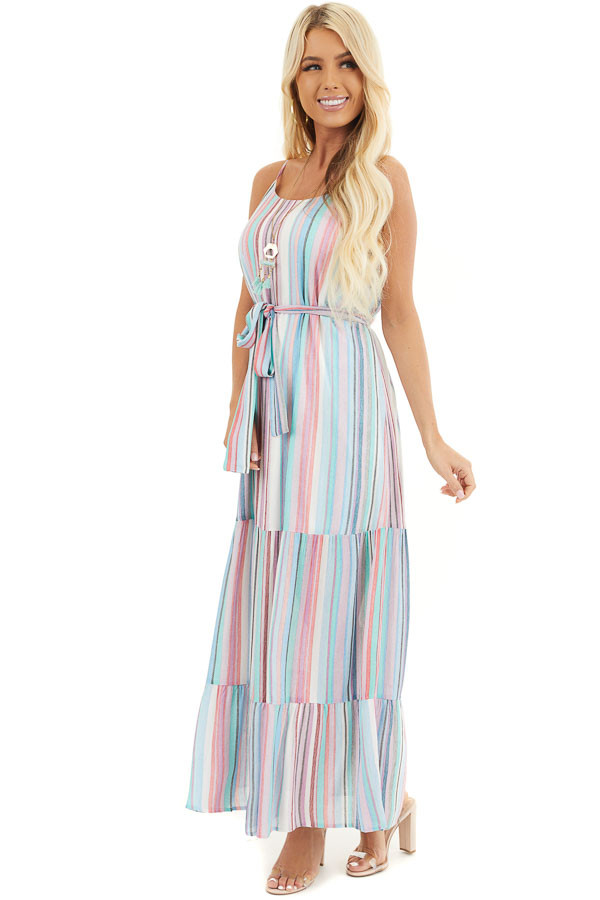 Blue Multicolor Vertical Striped Sleeveless Maxi Dress front full body