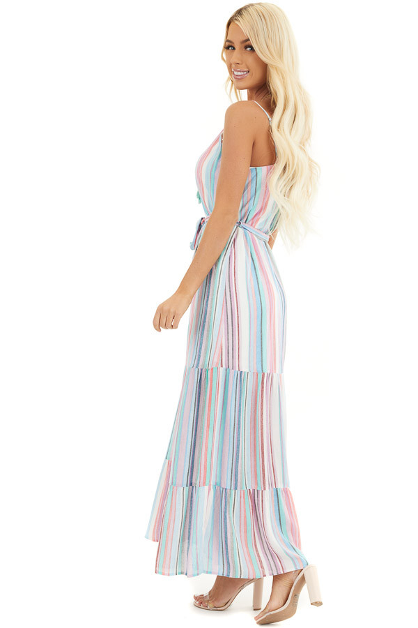 Blue Multicolor Vertical Striped Sleeveless Maxi Dress side full body