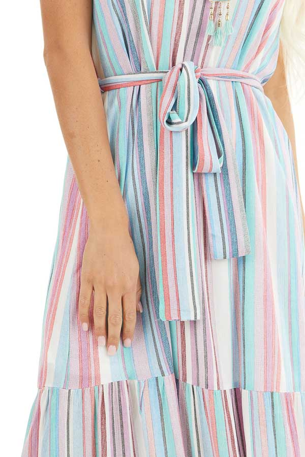Blue Multicolor Vertical Striped Sleeveless Maxi Dress detail