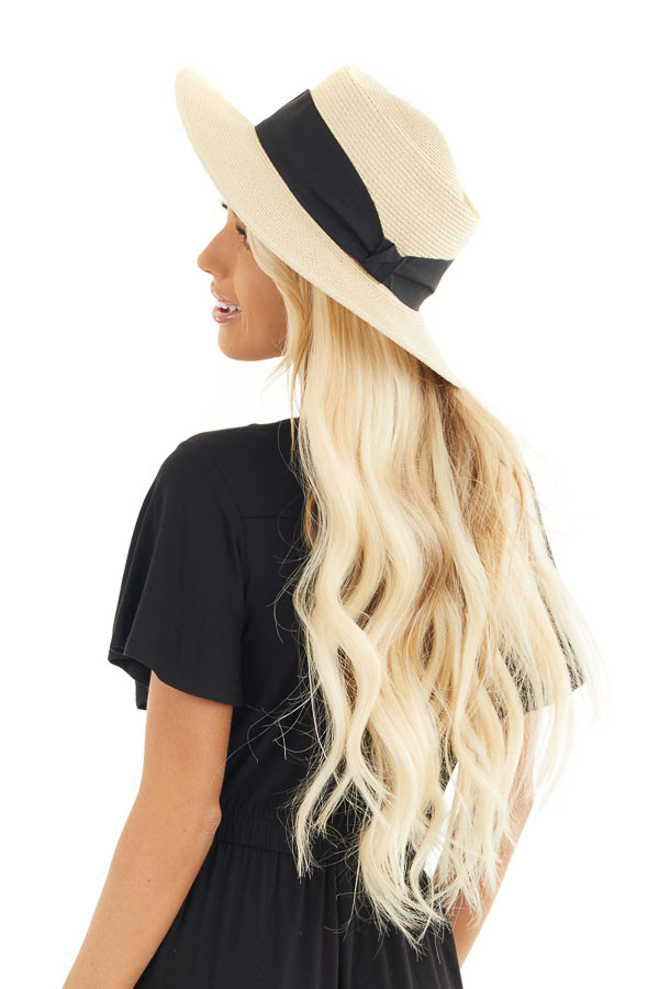 Natural Ivory Straw Boater Hat with Wide Ribbon Detail