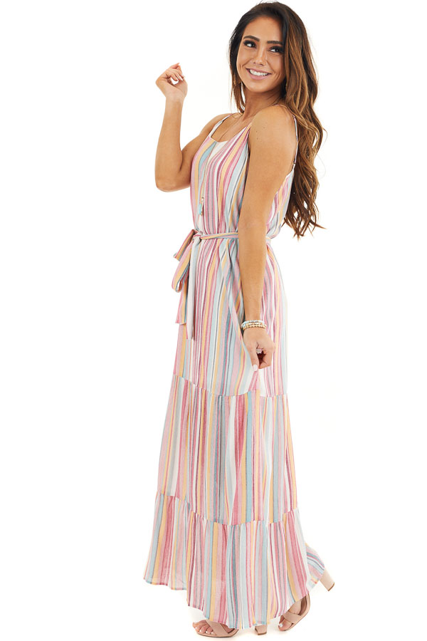 Pink Multicolor Vertical Striped Sleeveless Maxi Dress side full body