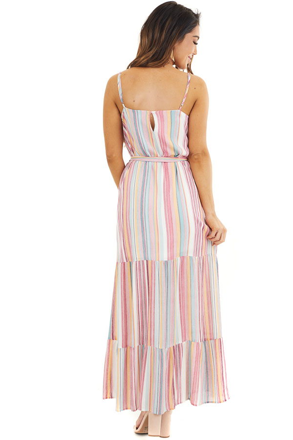 Pink Multicolor Vertical Striped Sleeveless Maxi Dress back full body