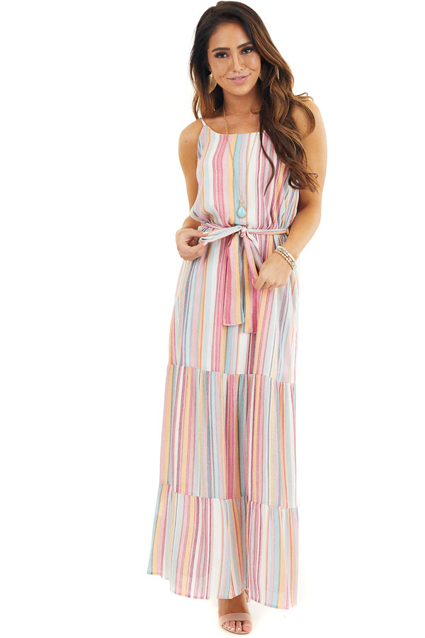 Pink Multicolor Vertical Striped Sleeveless Maxi Dress front full body