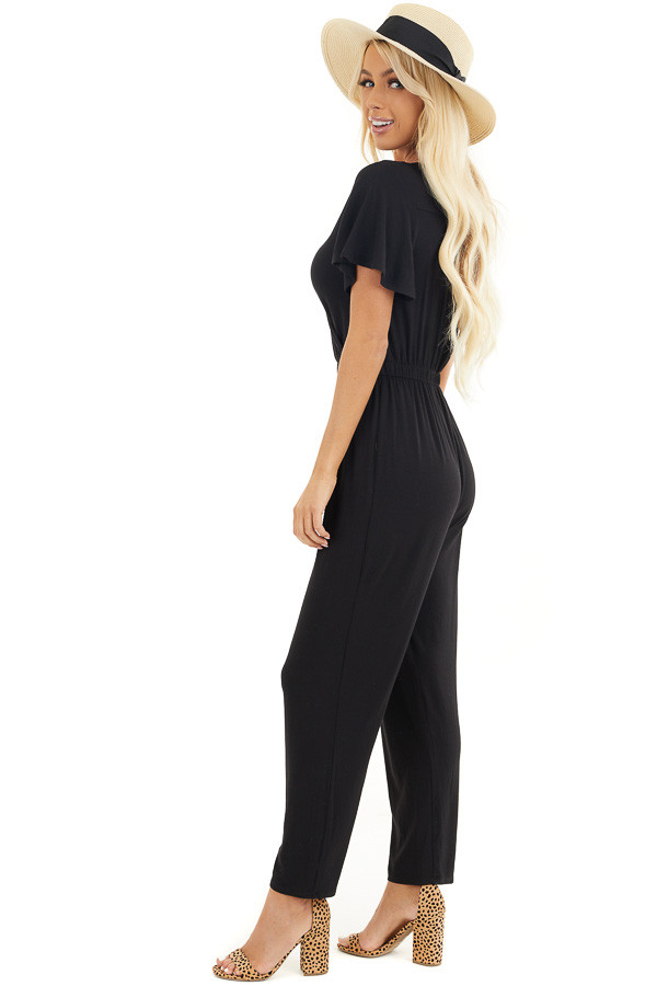 Black Stretchy Surplice Jumpsuit with Hidden Button Closure side full body