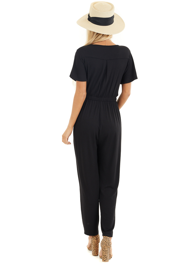 Black Stretchy Surplice Jumpsuit with Hidden Button Closure back full body