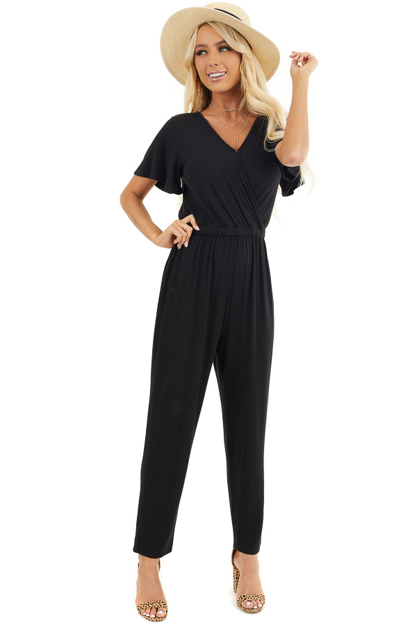 Black Stretchy Surplice Jumpsuit with Hidden Button Closure front full body