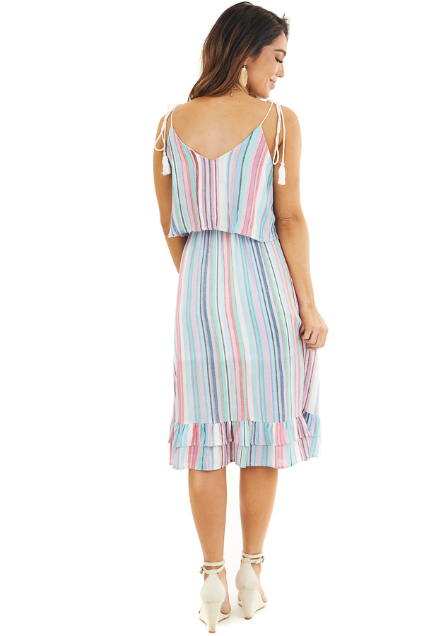 Blue Multicolor Striped Midi Dress with Rope Tassel Straps back full body