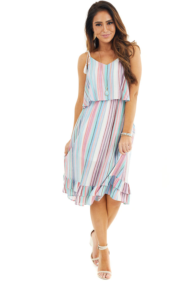 Blue Multicolor Striped Midi Dress with Rope Tassel Straps front full body