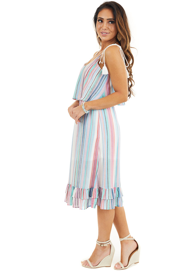 Blue Multicolor Striped Midi Dress with Rope Tassel Straps side full body