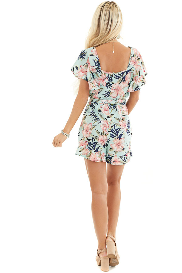 Mint Floral Print Short Sleeve Romper with Ruffle Details back full body