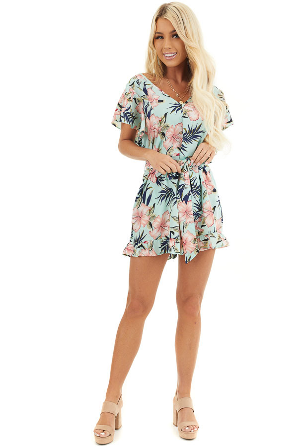 Mint Floral Print Short Sleeve Romper with Ruffle Details front full body