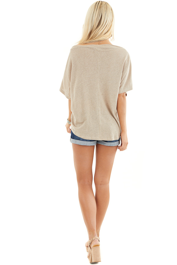 Latte Off the Shoulder Knit Top with Front Twist Detail back full body