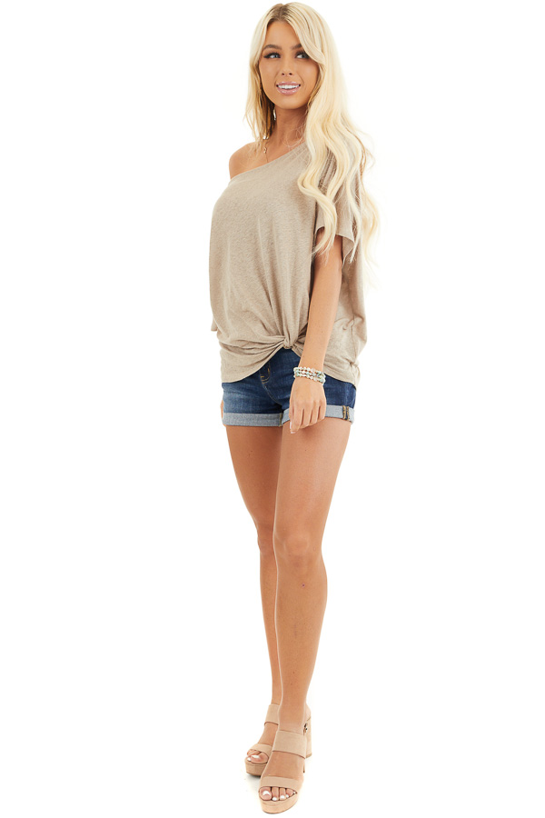 Latte Off the Shoulder Knit Top with Front Twist Detail front full body