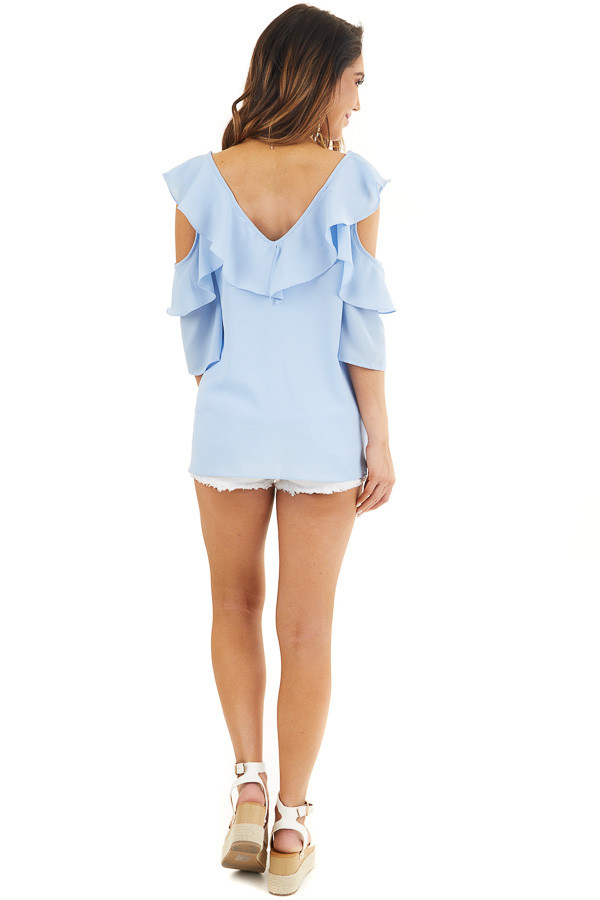 Pale Blue Cold Shoulder Woven Top with Ruffle Detail back full body