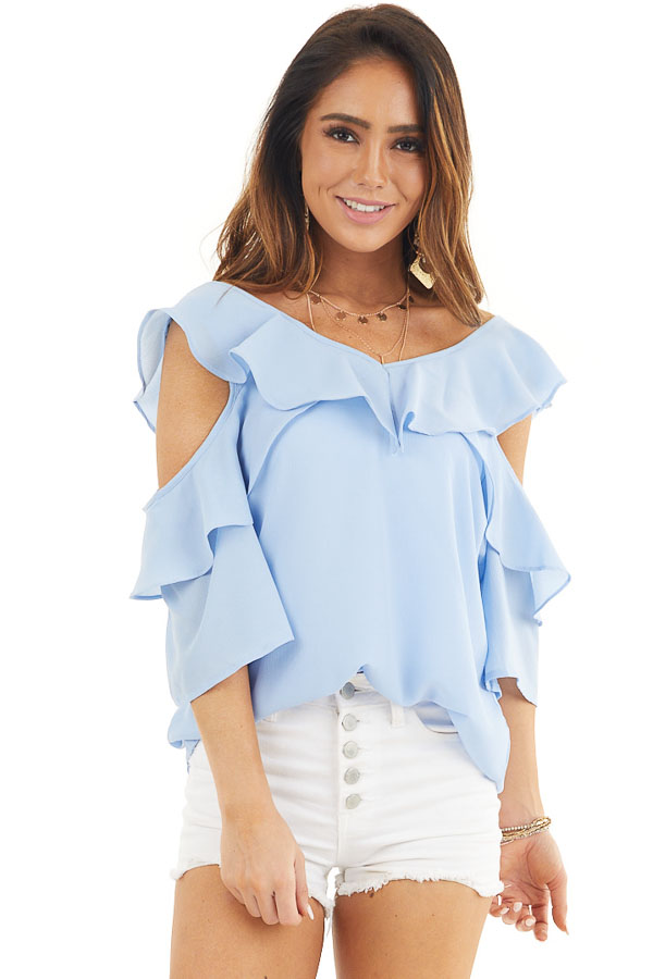 Pale Blue Cold Shoulder Woven Top with Ruffle Detail front close up
