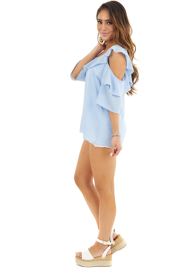 Pale Blue Cold Shoulder Woven Top with Ruffle Detail side full body