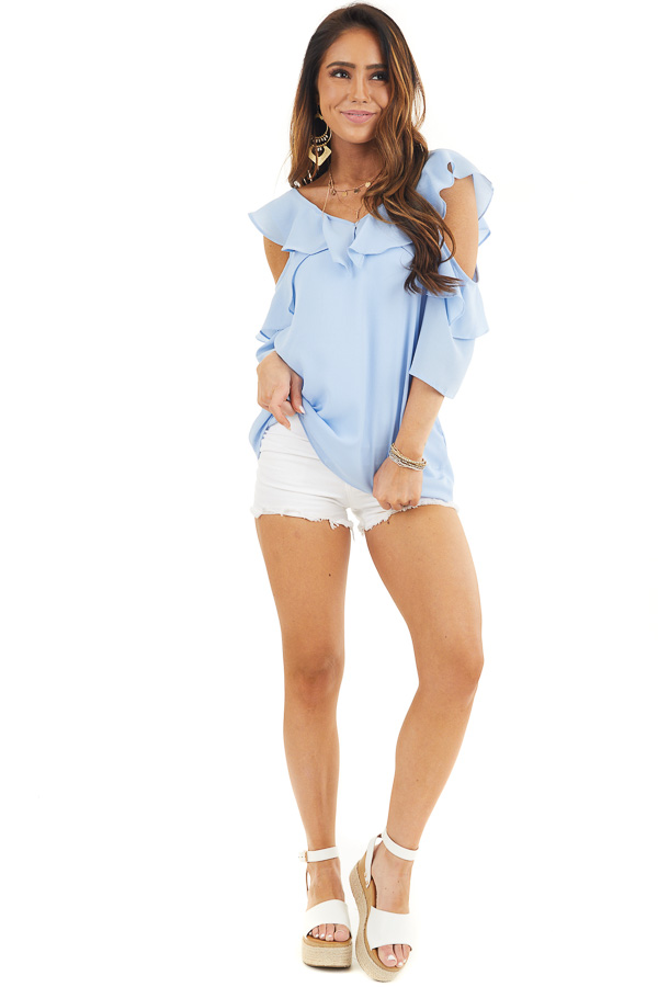 Pale Blue Cold Shoulder Woven Top with Ruffle Detail front full body