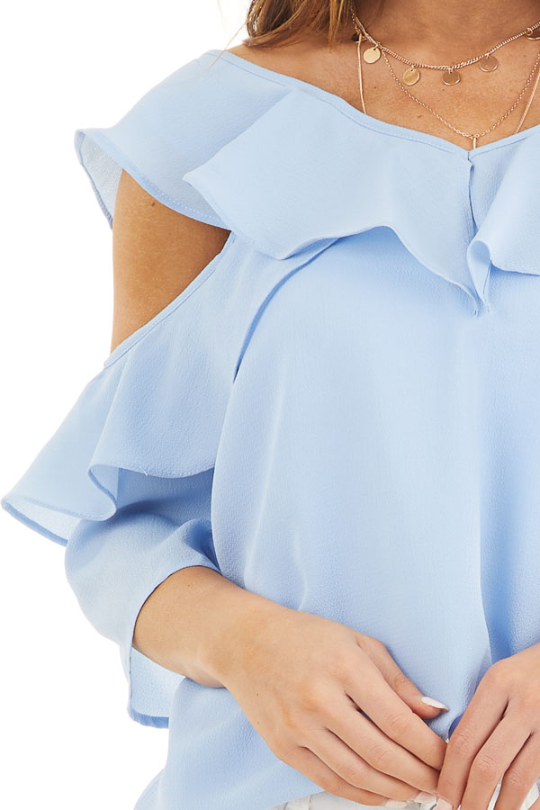 Pale Blue Cold Shoulder Woven Top with Ruffle Detail detail
