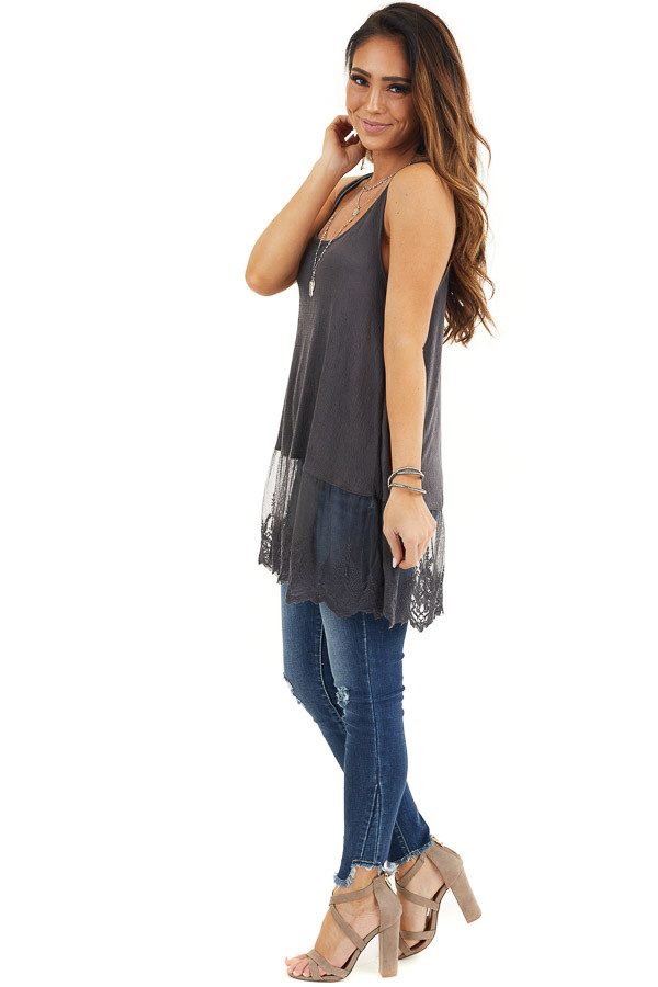 Charcoal Racerback Knit Tank Top with Lace Hemline side full body