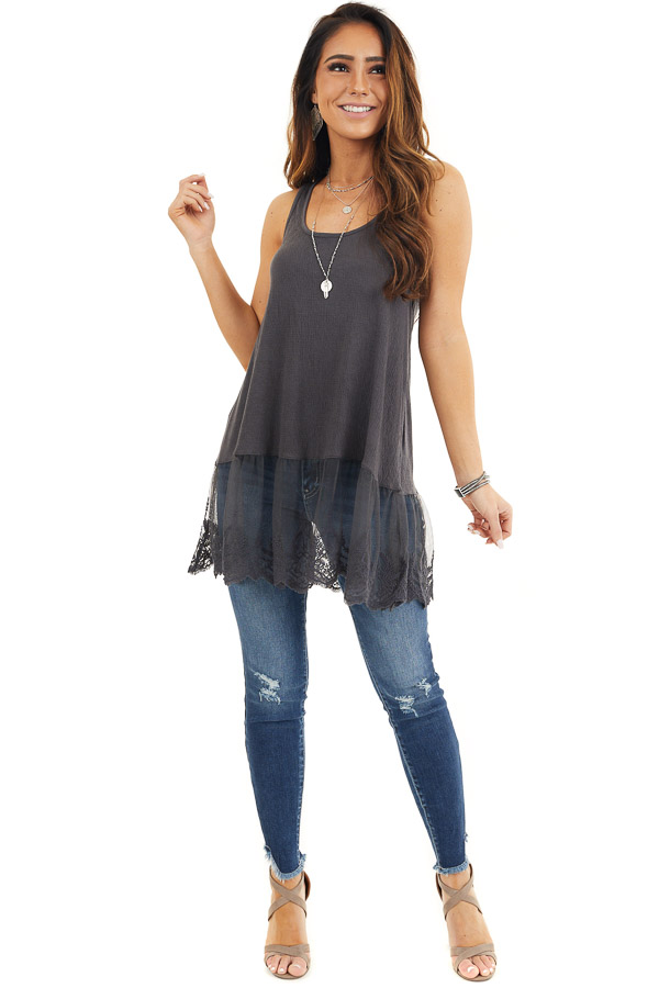 Charcoal Racerback Knit Tank Top with Lace Hemline front full body