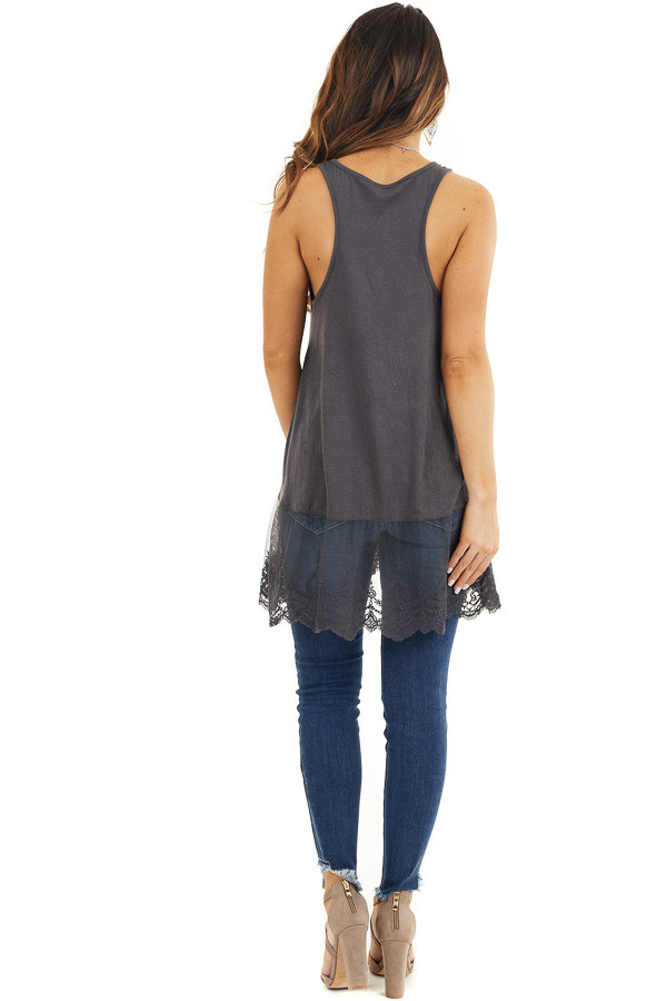 Charcoal Racerback Knit Tank Top with Lace Hemline back full body