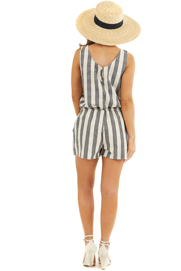 Charcoal and Oatmeal Striped Sleeveless Romper with Pockets back full body