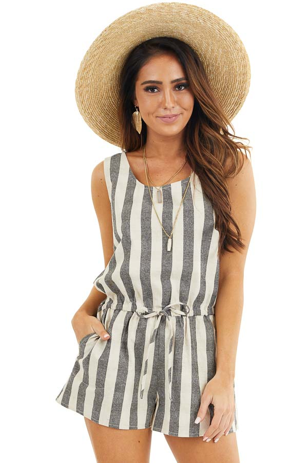 Charcoal and Oatmeal Striped Sleeveless Romper with Pockets front close up