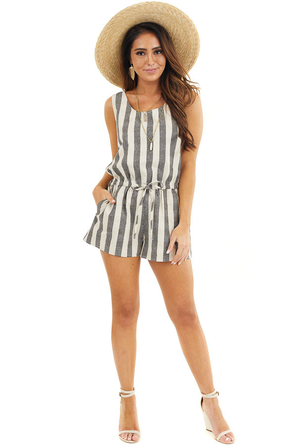 Charcoal and Oatmeal Striped Sleeveless Romper with Pockets front full body