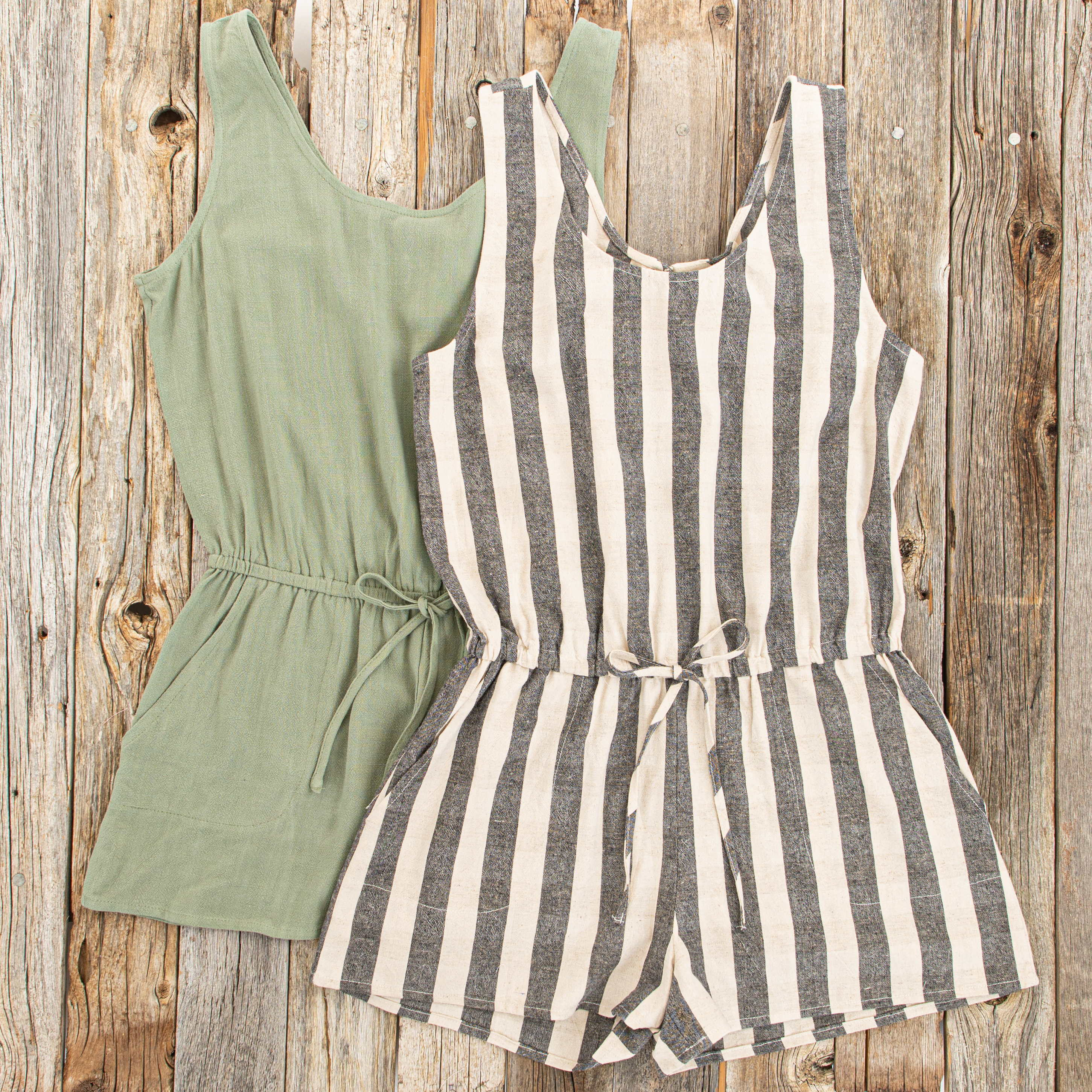 Charcoal and Oatmeal Striped Sleeveless Romper with Pockets