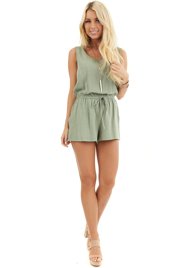 Sage Sleeveless Romper with Elastic Waist and Pockets front full body