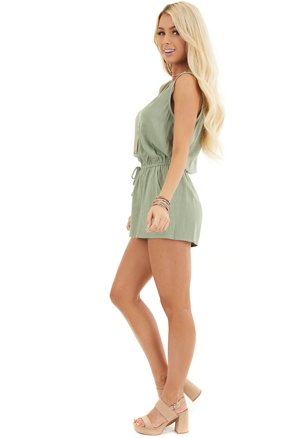 Sage Sleeveless Romper with Elastic Waist and Pockets side full body