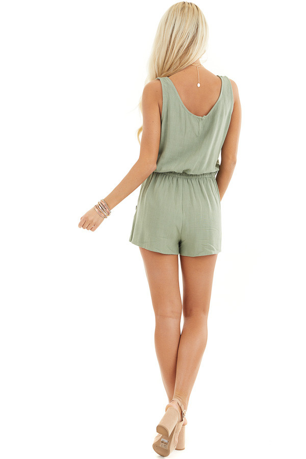 Sage Sleeveless Romper with Elastic Waist and Pockets back full body