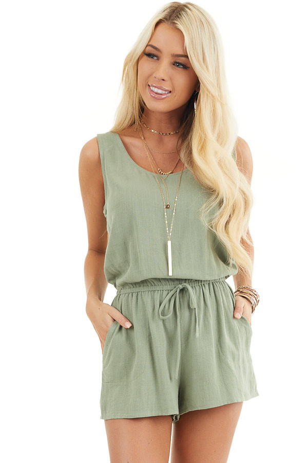 Sage Sleeveless Romper with Elastic Waist and Pockets front close up