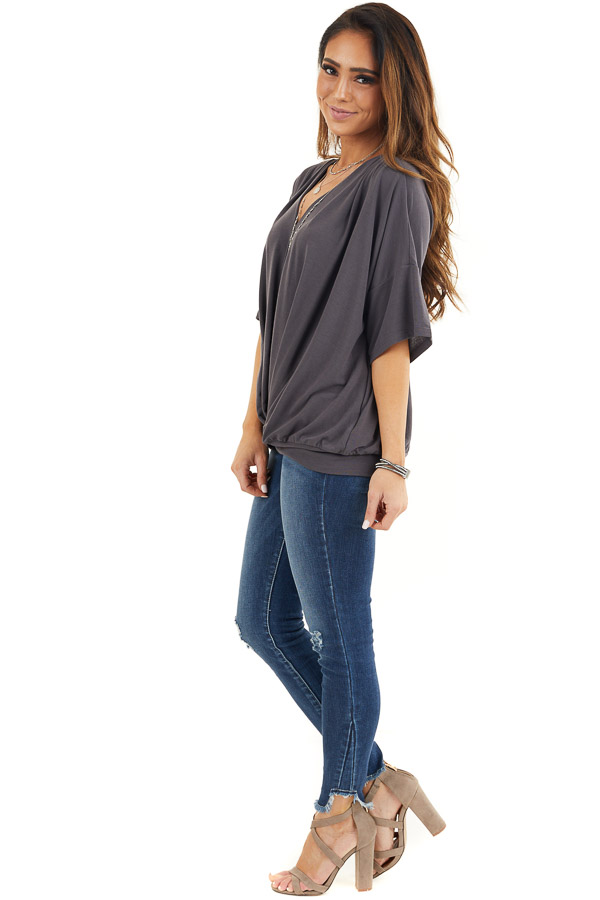 Stone Grey Knit V Neck Top with Twisted Front Detail side full body