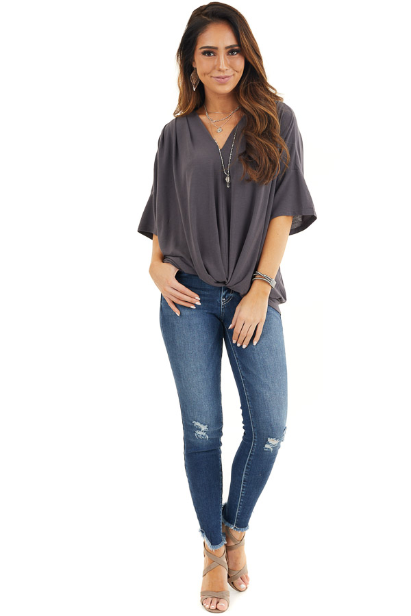Stone Grey Knit V Neck Top with Twisted Front Detail front full body