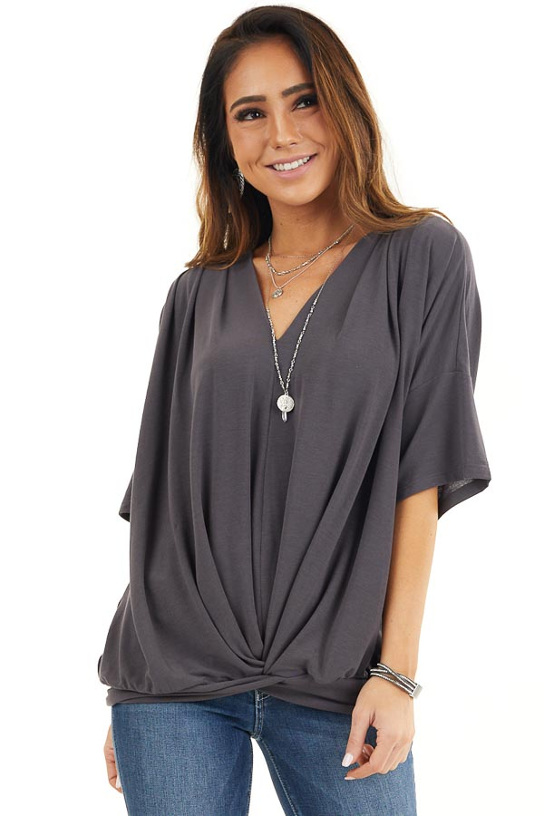 Stone Grey Knit V Neck Top with Twisted Front Detail front close up