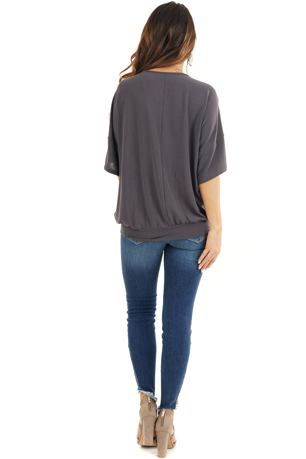 Stone Grey Knit V Neck Top with Twisted Front Detail back full body