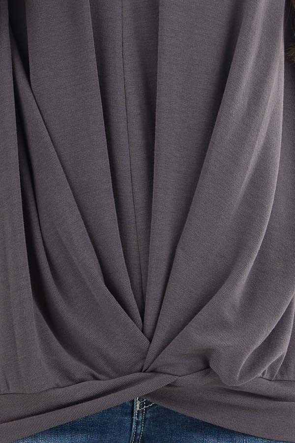 Stone Grey Knit V Neck Top with Twisted Front Detail detail