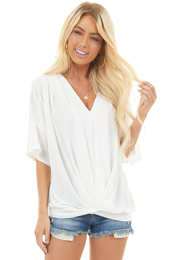 Off White Knit V Neck Top with Twisted Front Detail