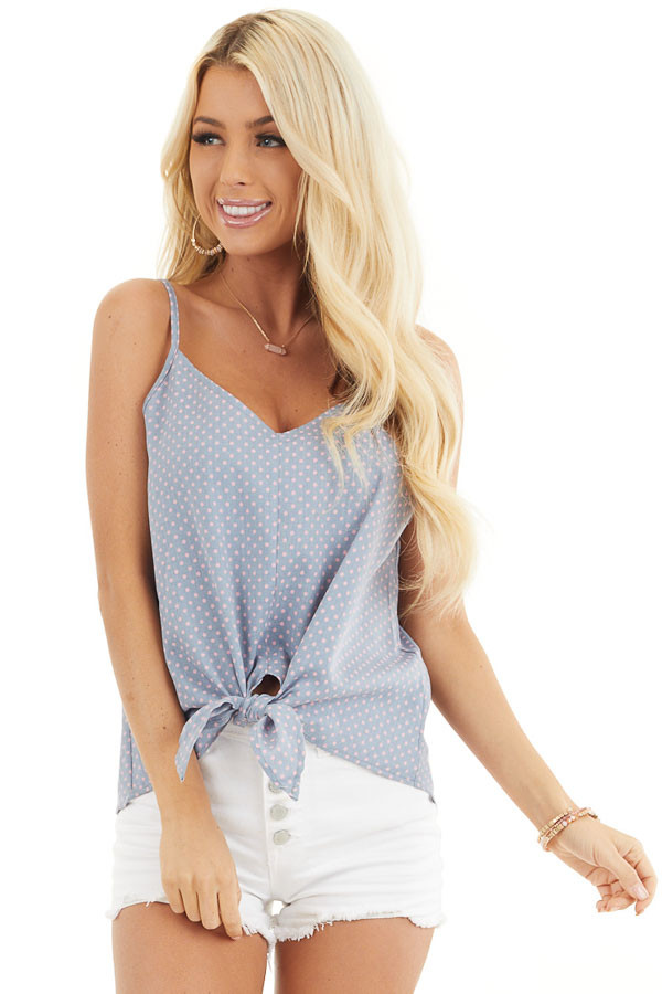Slate Blue and Baby Pink Polka Dot Print Tank Top with Tie front close up