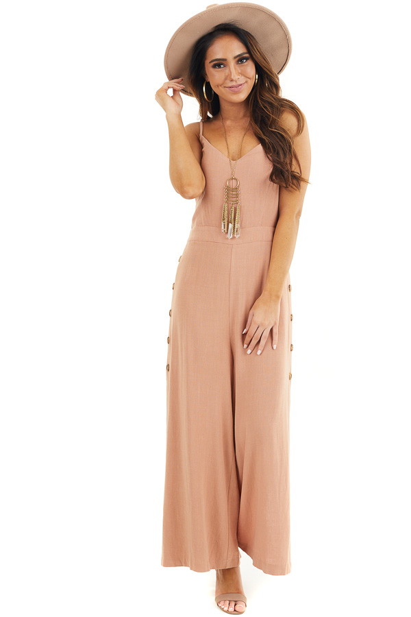 Terracotta Sleeveless Jumpsuit with Button Up Leg Slits front full body