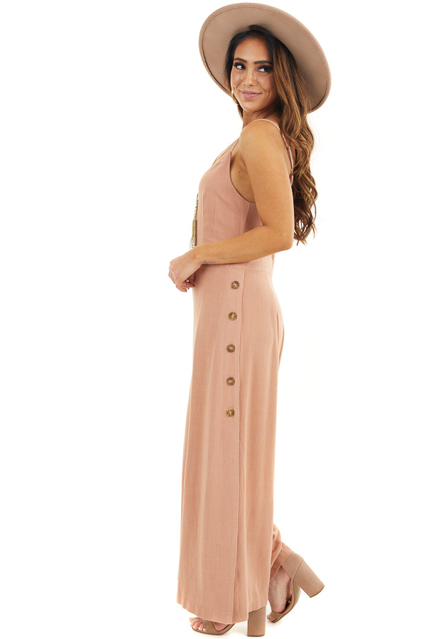 Terracotta Sleeveless Jumpsuit with Button Up Leg Slits side full body