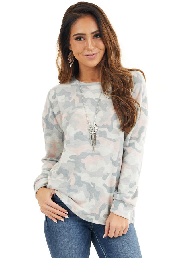 Sage Green Camo Super Soft Knit Top with Side Slits front close up