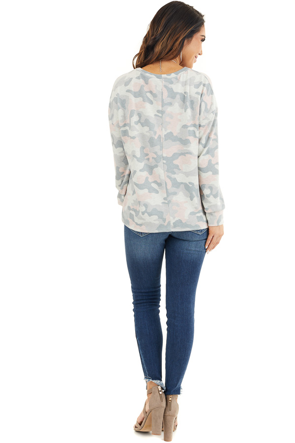 Sage Green Camo Super Soft Knit Top with Side Slits back full body
